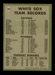 1971 Topps #289   White Sox Team Back Thumbnail