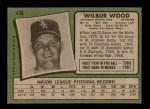 1971 Topps #436  Wilbur Wood  Back Thumbnail