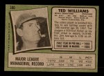 1971 Topps #380  Ted Williams  Back Thumbnail