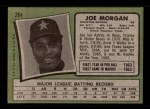 1971 Topps #264  Joe Morgan  Back Thumbnail