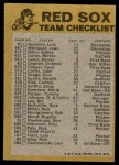 1974 Topps Red Team Checklist   Red Sox Team Checklist Back Thumbnail