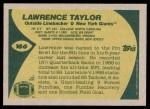 1989 Topps #166  Lawrence Taylor  Back Thumbnail