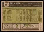 1961 Topps #89  Billy Martin  Back Thumbnail