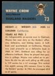 1962 Fleer #73  Wayne Crow  Back Thumbnail