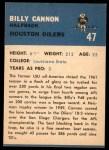1962 Fleer #47  Billy Cannon  Back Thumbnail