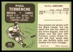 1970 Topps #123  Paul Terbenche  Back Thumbnail