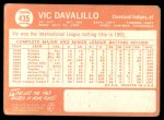 1964 Topps #435  Vic Davalillo  Back Thumbnail