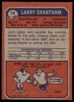 1973 Topps #74  Larry Grantham  Back Thumbnail