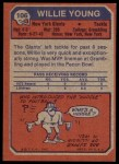 1973 Topps #106  Willie Young  Back Thumbnail