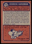 1973 Topps #412  Cedrick Hardman  Back Thumbnail