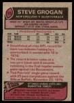 1977 Topps #165  Steve Grogan  Back Thumbnail