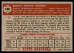 1952 Topps #340  Bob Hooper  Back Thumbnail