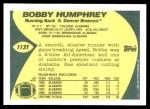 1989 Topps Traded #113 T Bobby Humphrey  Back Thumbnail