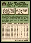 1967 Topps #510  Bill Mazeroski  Back Thumbnail