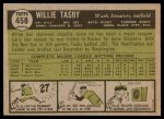 1961 Topps #458  Willie Tasby  Back Thumbnail