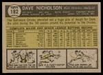 1961 Topps #182  Dave Nicholson  Back Thumbnail
