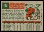 1959 Topps #447  Bob Anderson  Back Thumbnail