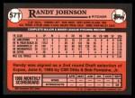 1989 Topps Traded #57 T Randy Johnson  Back Thumbnail