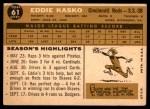 1960 Topps #61  Eddie Kasko  Back Thumbnail