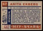 1957 Topps Hit Stars #67  Anita Ekberg   Back Thumbnail