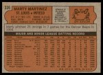 1972 Topps #336  Marty Martinez  Back Thumbnail