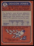 1973 Topps #38  Deacon  Jones  Back Thumbnail