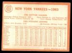 1964 Topps #433   Yankees Team Back Thumbnail