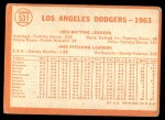 1964 Topps #531   Dodgers Team Back Thumbnail
