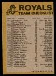 1974 Topps Red Team Checklist   Royals Team Checklist Back Thumbnail