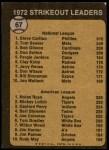 1973 Topps #67   -  Steve Carlton / Nolan Ryan Strikeout Leaders Back Thumbnail