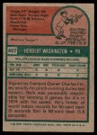 1975 Topps #407  Herb Washington  Back Thumbnail