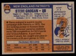 1976 Topps #376  Steve Grogan   Back Thumbnail