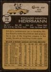 1973 Topps #73  Ed Herrmann  Back Thumbnail