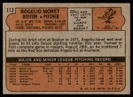 1972 Topps #113  Rogelio Moret  Back Thumbnail