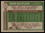 1976 Topps #125  Don Baylor  Back Thumbnail