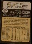 1973 Topps #137  Jim Beauchamp  Back Thumbnail