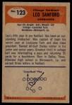 1955 Bowman #123  Leo Sanford  Back Thumbnail