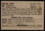 1952 Bowman Large #58  Zollie Toth  Back Thumbnail