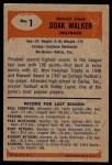 1955 Bowman #1  Doak Walker  Back Thumbnail