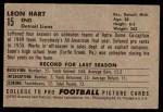 1952 Bowman Large #15  Leon Hart  Back Thumbnail