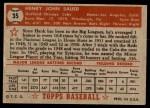 1952 Topps #35  Hank Sauer  Back Thumbnail