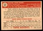 1952 Topps #164 CRM Walt Dubiel  Back Thumbnail