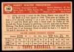 1952 Topps #142 CRM Harry Perkowski  Back Thumbnail