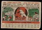 1956 Topps #240  Whitey Ford  Back Thumbnail