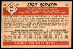 1953 Bowman B&W #20  Eddie Robinson  Back Thumbnail