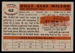 1956 Topps #62  Billy Wilson  Back Thumbnail