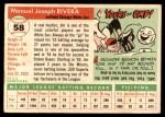 1955 Topps #58  Jim Rivera  Back Thumbnail