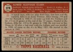 1952 Topps #278  Al Clark  Back Thumbnail