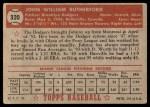 1952 Topps #320  John Rutherford  Back Thumbnail