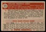 1952 Topps #370  Billy Hoeft  Back Thumbnail